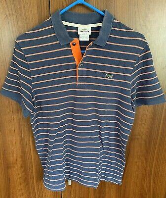 Lacoste Navy With Orange Stripe Polo Size 4 Small