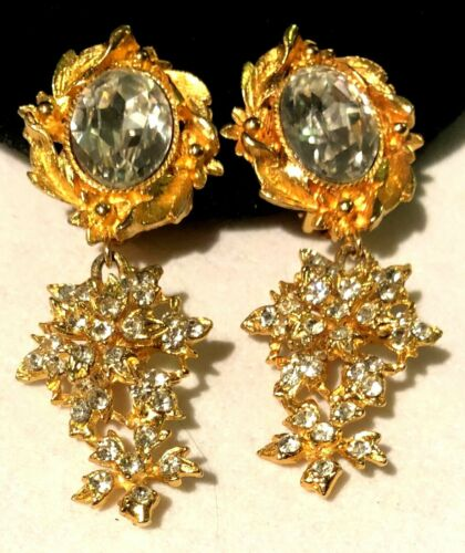 "Rare Vintage 3"" Signed Miriam Haskell Gilt Clear Rhinestone Dangle Clip Earrings"