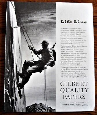 Mountain Trooper Scales Cliff  ,WWII Ad, original vintage