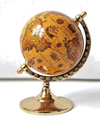 Globus auf Messingfuss, Höhe 14cm Ø 9 cm Antik Dekoration