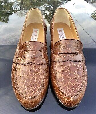 Gucci Mens Brown Vintage Genuine Crocodile Alligator Penny Loafer Shoes 8.5 US