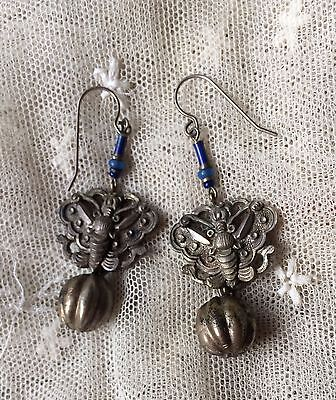 Antique Chinese Qing Silver Butterfly Bell hat ornament Long Pierced Earrings