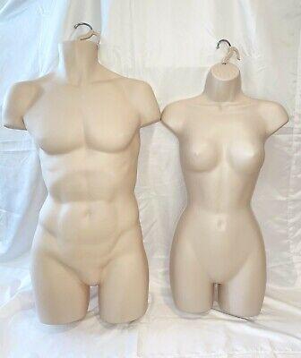 Mannequin Male Female Torso Dress Clothing Body Forms  2 Hangers Hooks