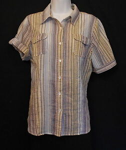 Shirt Blouse Stretch Womens Sz L Liz Clairborne Stripe Button Down Short Sleeve