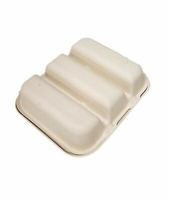 3 Taco Takeout Box - Divider Holder Pulp Fiber Disposable- 15 Pieces
