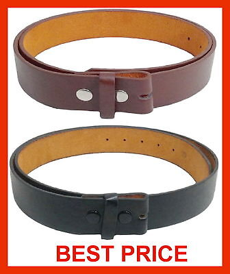 - BLACK BROWN PLAIN LEATHER BELT STRAP SNAP ON NO BUCKLE CASUAL DRESS MENS WOMENS