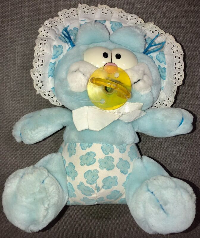 1981 Dakin Blue Baby Garflied With Pacifier Plush