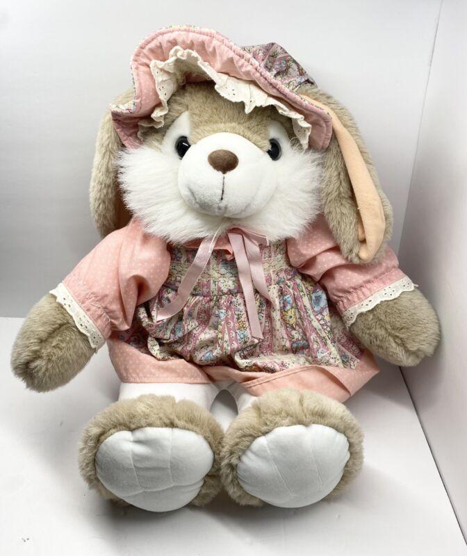 "VTG TL Toys Easter Bunny Rabbit Plush Stuffed Animal Floral Dress Hat 20"""