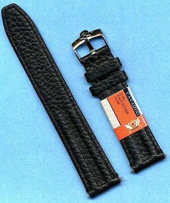Omega Leather Bands (OMEGA STEEL BUCKLE & GENUINE BLACK LEATHER CAVADINI STRAP BAND 18mm or 20mm )