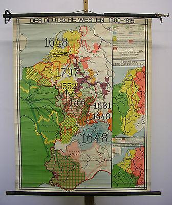 Schulwandkarte Wandkarte Karte Deutscher Westen 1300-1815 Lothringen 93x119~1940