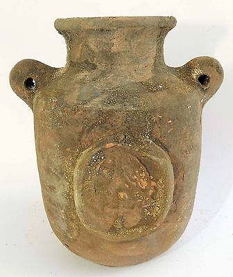 Biblical Ancient Terracotta Holy Land Roman Pottery Jug Clay Embossed Cross