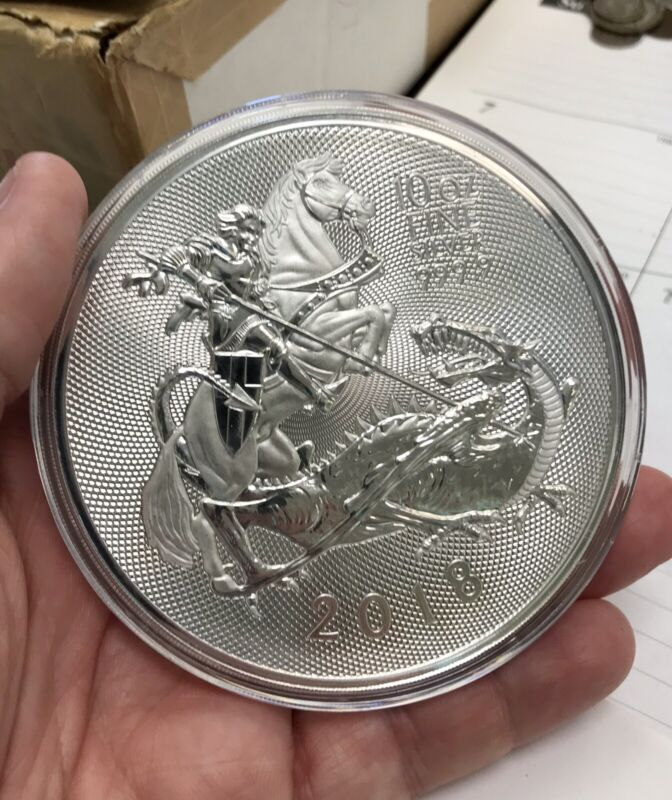 2018 10 oz Great Britain .9999 Fine Silver Valiant Saint George Coin w/ Capsule
