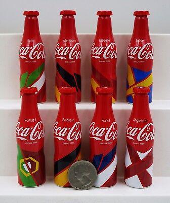 "*Set of 8 Miniature 3"" Coca Cola Mini Aluminum Bottles 2016 European Flag Set"