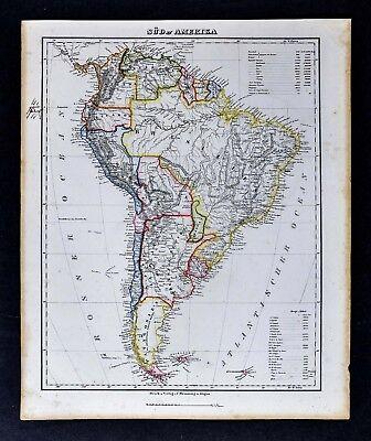 c1850 Flemming Map - South America  Brazil Argentina Peru Colombia Bolivia Chile
