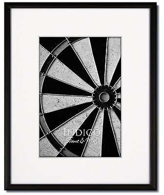 One 16x20 Frosted Black Metal Picture Frame, Glass, Single White Mat for 11x14