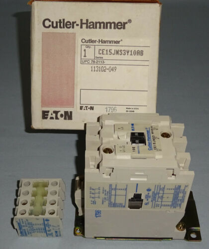 Cutler Hammer CE15JNS3Y10AB Contactor 120V Coil Size J 3 Pole CE15JNS3 NEW