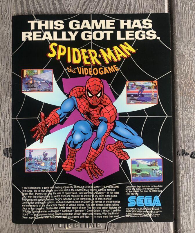 **Spiderman The Video Game Sega Flyer Brochure Marvel 1991 Ad NOS!!**