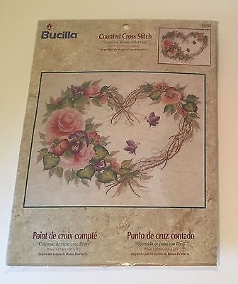 Bucilla Counted Cross Stitch Kit Embroidery Grapevine Floral Wreath 43092 NEW