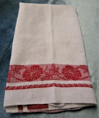 Antique Turkey Red & White Damask Kitchen Towel Daisies & Allover Florals
