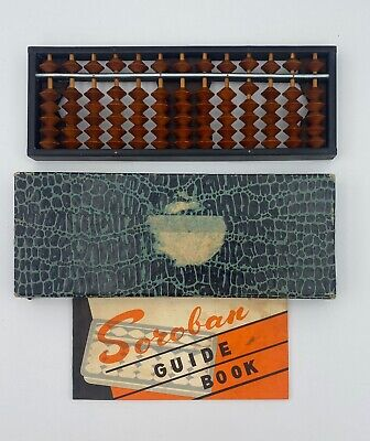 Vintage Soroban Abacus Math Japanese Calculator Tool 13 Columns Instruction