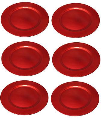er 6 Stk Ø 33 cm rot exclusive Teller used look Kunststoff (Rote Kunststoff-teller)