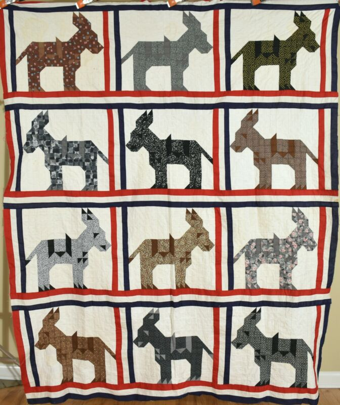 PATRIOTIC Vintage Donkey Mosaic Antique Quilt Top ~Red, White & Blue Frame!