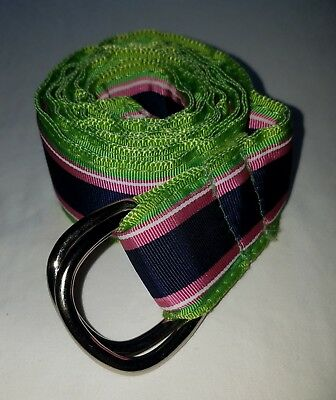 PRESTON LIME GREEN NAVY PINK RIBBON SILVER D-RING BELT SIZE MEDIUM
