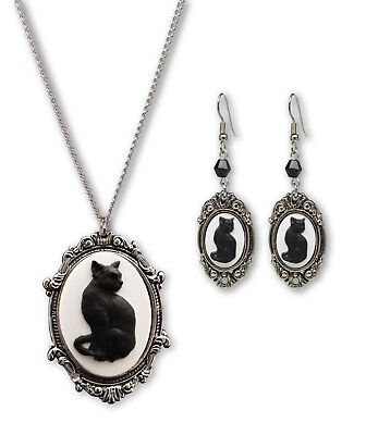 Black Cat Cameo Silver Finish Frame Necklace and Dangle Earrings Jewelry Set
