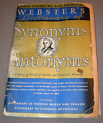 Websters Synonyms   Antonyms  1940   Paperback   Columbia Educational Books