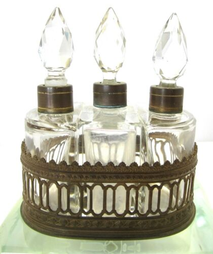 UNUSUAL ANTIQUE  3 PERFUME BOTTLE SET IN FANCY ORIGINAL BRONZE HOLDER