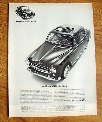 1962 Peugeot 403 Ad  Now Think a Little Bigger vs Volkswagen VW Bug