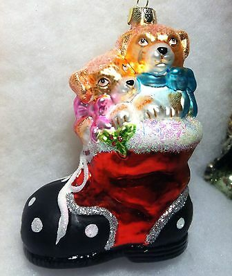 Dog Christmas Tree Ornament in Santa Boot stocking, Puppy