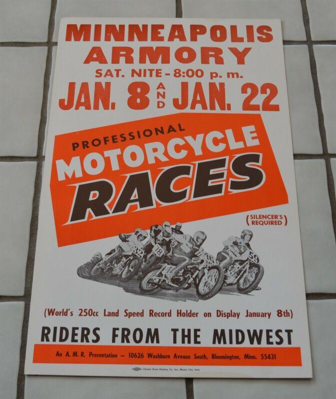 "Original Vintage Poster Motorcycle Races Minneapolis Armory 22""x14"""