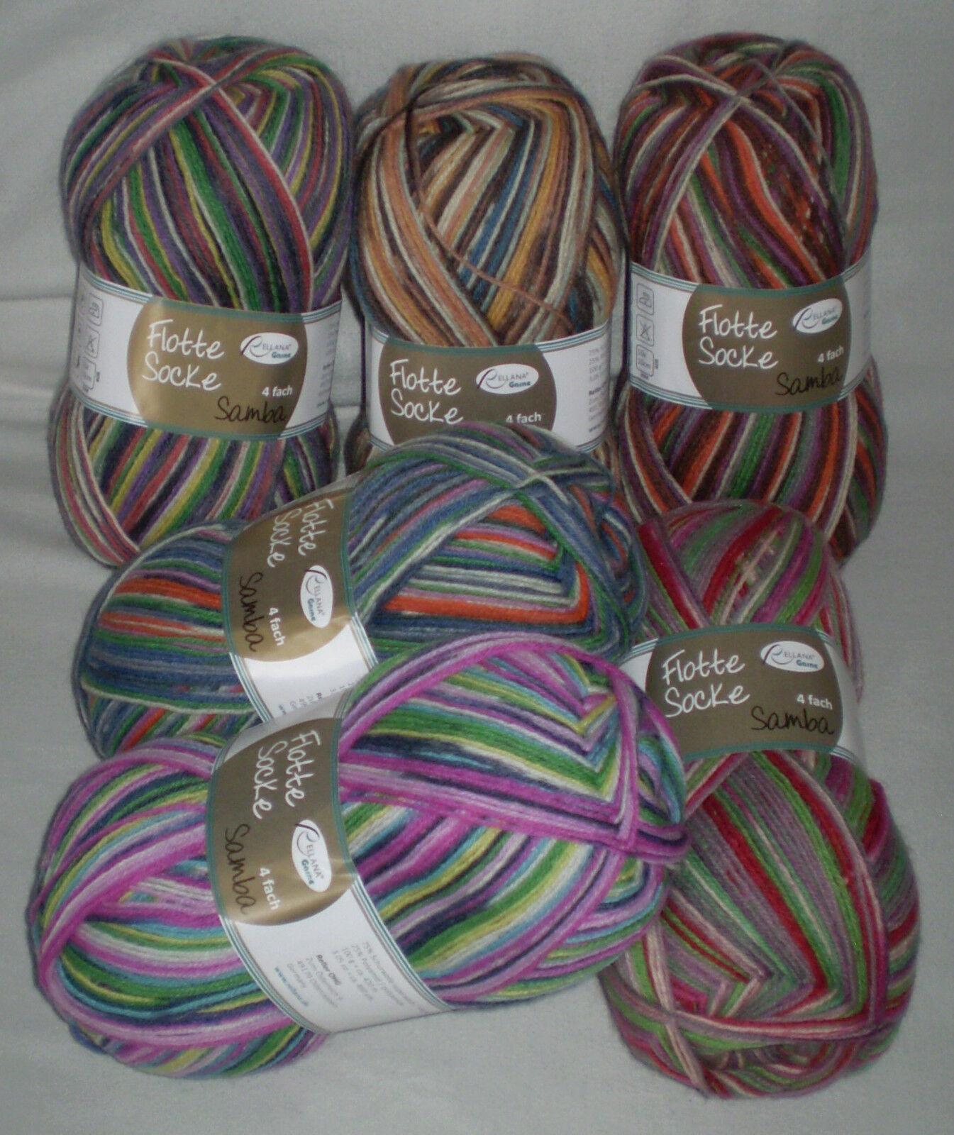5,30€/ 100 gr SAMBA Sockenwolle von RELLANA 4-fach / 4-fädig  Musterbildend