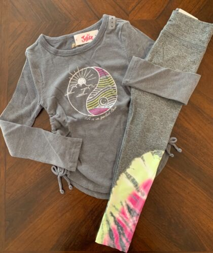 NWT Justice Girls Gray Side-Tie Waffle LS Tee & Mesh Leggings Outfit!  8 or 10!