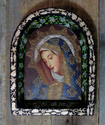Original Painting & Mliagro Retablo Wood Nicho Virgin Dolorosa Mexican Folk Art