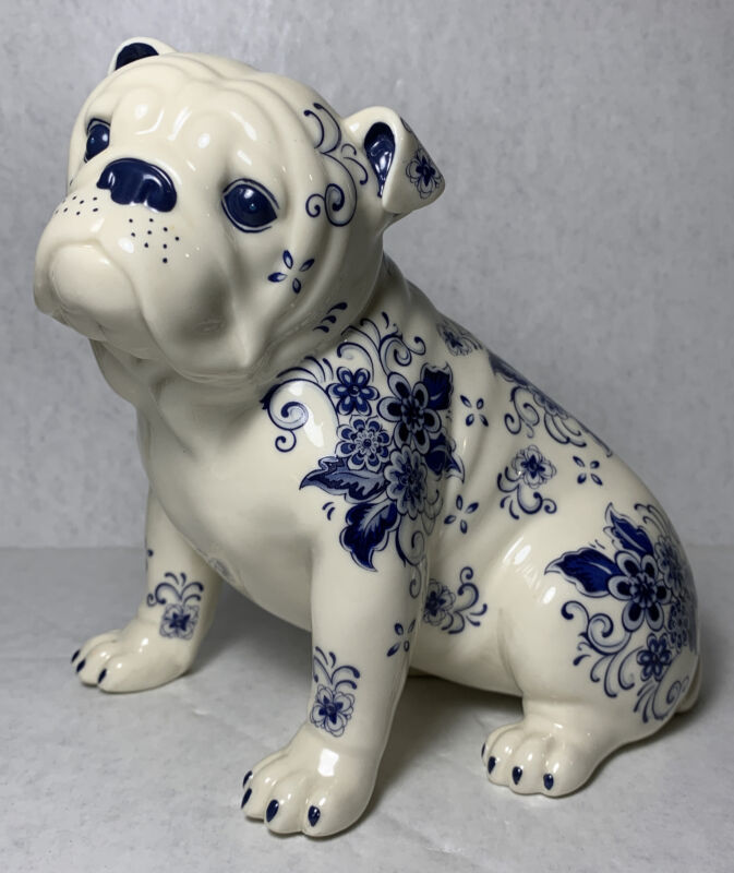 "Danbury Mint Delft Bulldog ""Elegant Companion"" Retired! EXTREMELY RARE! HTF!"