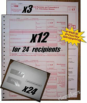 2017 Irs Tax Forms Kit   1099 Misc Carbonless For 24 Recipients   24 Env   1096