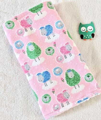 Handcrafted, Flannel Pink Sheep & White Minky Bubble,Baby Burp Cloth