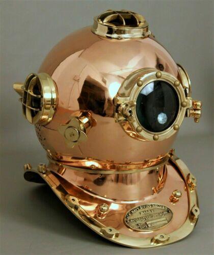 Vintage Copper Antique ~ Morse Scuba Divers Diving Helmet Navy Mark Deep Marine