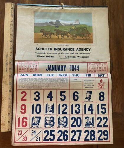 Vintage 1994 wall calendar Schuler Insurance Elmwood WI stage coach airplane