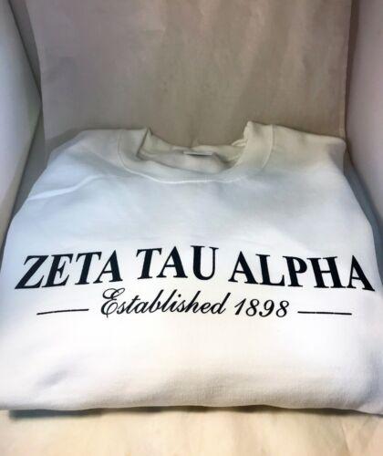 Zeta Tau Alpha ZTA Sorority Crewneck Sweatshirt- White- Size Large- New!