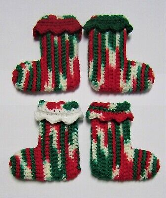 Set of 4 Miniature Christmas Stockings Tree Ornaments Crocheted Gift Card Holder ()