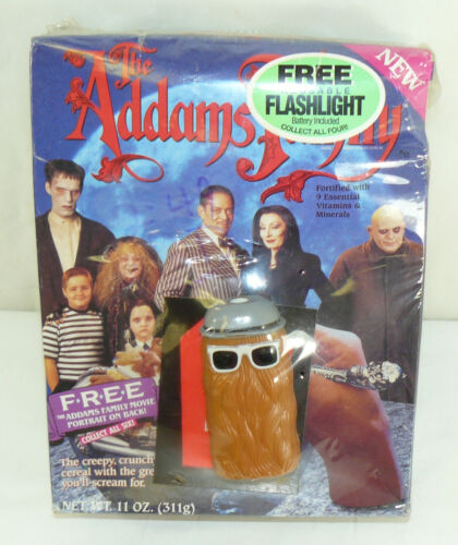 SEALED 1991 ADDAMS FAMILY Cereal Box with Cousin IT Flashlight