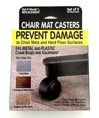 Replacement Chair Mat Casters For Metal Plastic Chair Bases Equip 5 Pack