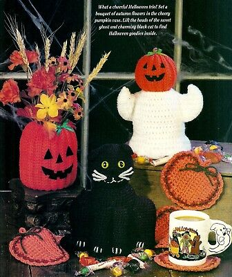TRIO of Halloween Pals & Coasters/Decor/Crochet Pattern INSTRUCTIONS - Crochet Halloween Coasters