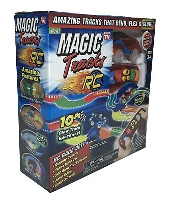 Ontel Magic Tracks RC Remote Control Turbo Race Cars, Bendable Glow in the Dark Nitro Race Car
