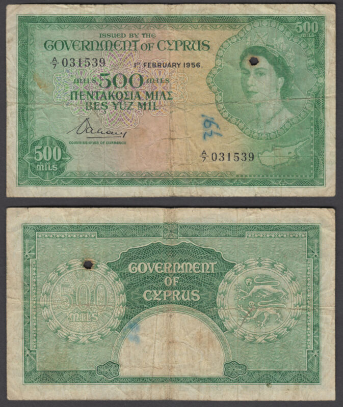 Cyprus 500 Mils 1956 (VG) Condition Banknote QEII P-34