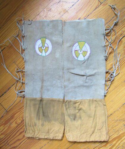 Vintage Navajo Indian Leather & Cloth Ceremonial Pow Wow Leggings Pant Legs