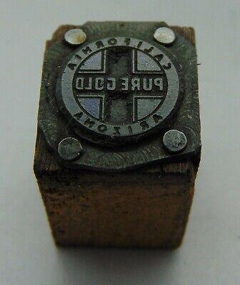 Vintage Printing Letterpress Printers Block California Arizona Pure Gold
